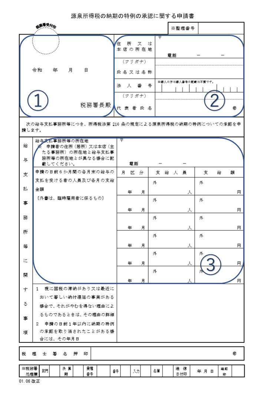 源泉所得税の納期の特例の承認に関する申請書の作成方法